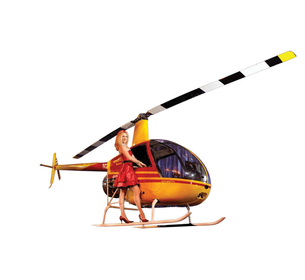 Woman with helicopter from Rick Wilcox magic show