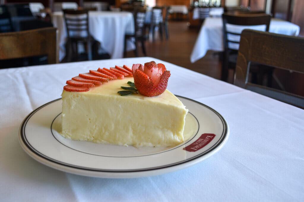 Kaminski's New York Cheesecake with fresh strawberries