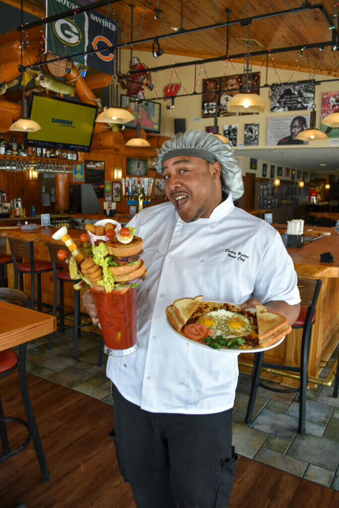 Chef Cortez with the Monster Bloody Mary and a breakfast platter