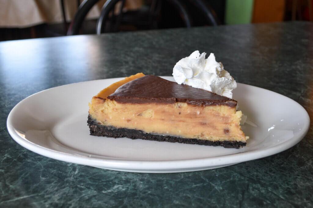 Green Owl chocolate peanut butter cheesecake